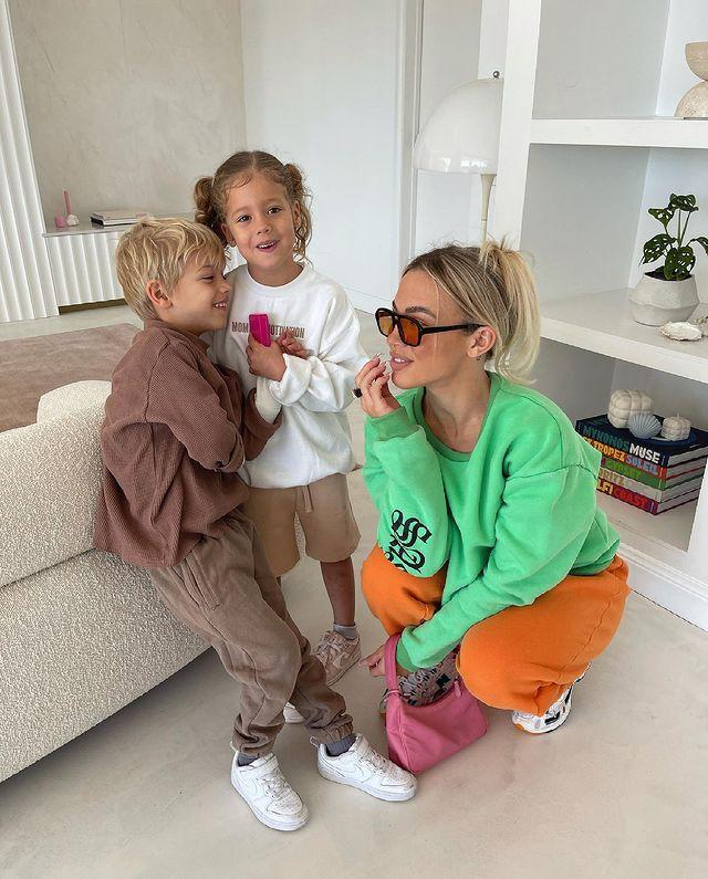 Tammy Hembrow with her two children: son Wolf, 6, and four-year-old daughter, Saskia
