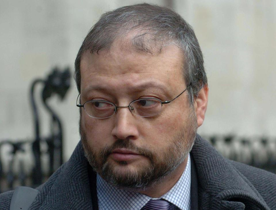 Jamal Khashoggi, media advisor to Prince Turki Al-Faisal, leaves the Royal Courts of Justice in central London. (Johnny Green - PA Images/PA Images via Getty Images)