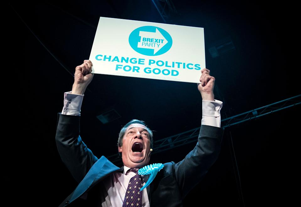 Brexit Party leader Nigel Farage addresses a rally on the European Election campaign trail (Picture: PA)