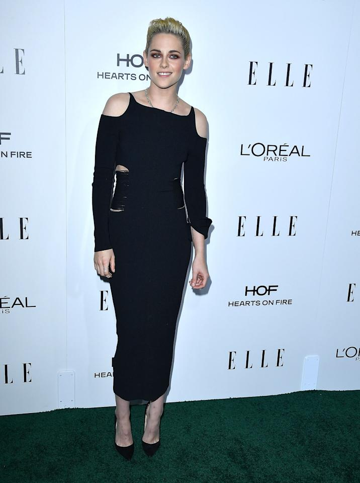 <p>Yes, you can absolutely wear a minimal LBD to your festive do. Kristen's cut out version is incredibly chic – and another style that would look a million dollars on someone who's 20something or 70something. In fact, Dame Helen Mirren has worn a similar look herself in recent years. [Photo: Getty] </p>