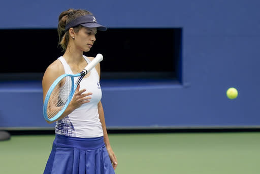 Tsvetana Pironkova, of Bulgaria, reacts during a match against Serena Williams, of the United States, during the quarterfinals of the US Open tennis championships, Wednesday, Sept. 9, 2020, in New York. (AP Photo/Seth Wenig)