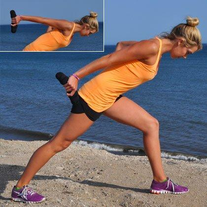 <p><em>Reps: 25 per side</em><br /><br />Grab a dumbbell with right hand and stand in a split stance with left foot forward. Bend left knee and lower torso until parallel to the ground. Keep back leg straight and shoulders facing forward.<br /><br />Lift right arm to shoulder height, pointing the weight up to the ceiling. From there, pulse right arm 1 inch up and down, keeping arm as straight as possible. Do 25 pulses, then switch sides.<br /><br />Triceps Pushups</p>