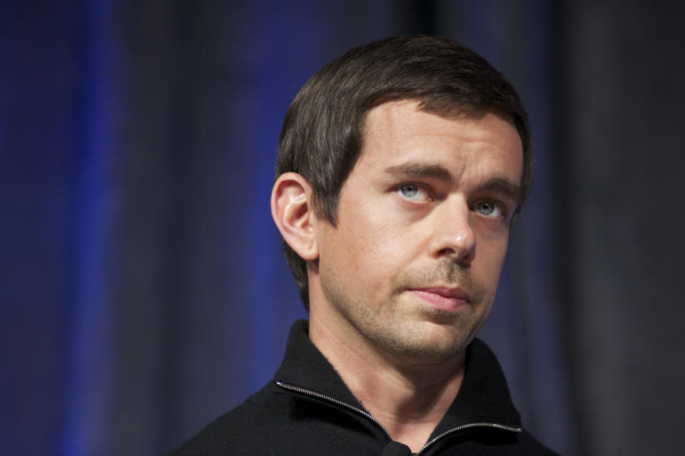 Jack Dorsey, the co-founder of Twitter and CEO of Square participates in a discussion at the GigaOm RoadMap event in San Francisco. Dorsey said when technology like Twitter is done right it should actually allow us to be more human, not less. (Photo by Kim Kulish/Corbis via Getty Images)