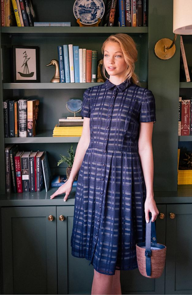 """<p>This <a href=""""https://www.popsugar.com/buy/Gal-Meets-Glam-Collection-Mackenzie-Windowpane-Jacquard-Shirtdress-488528?p_name=Gal%20Meets%20Glam%20Collection%20Mackenzie%20Windowpane%20Jacquard%20Shirtdress&retailer=shop.nordstrom.com&pid=488528&price=198&evar1=fab%3Aus&evar9=46586805&evar98=https%3A%2F%2Fwww.popsugar.com%2Ffashion%2Fphoto-gallery%2F46586805%2Fimage%2F46587322%2FGal-Meets-Glam-Collection-Mackenzie-Windowpane-Jacquard-Shirtdress&list1=shopping%2Cfall%20fashion%2Cdresses%2Cworkwear&prop13=mobile&pdata=1"""" rel=""""nofollow"""" data-shoppable-link=""""1"""" target=""""_blank"""" class=""""ga-track"""" data-ga-category=""""Related"""" data-ga-label=""""https://shop.nordstrom.com/s/gal-meets-glam-collection-mackenzie-windowpane-jacquard-shirtdress/5383096?origin=keywordsearch-personalizedsort&amp;breadcrumb=Home%2FAll%20Results&amp;color=navy%2F%20sage"""" data-ga-action=""""In-Line Links"""">Gal Meets Glam Collection Mackenzie Windowpane Jacquard Shirtdress</a> ($198) will look cute with navy blue flats.</p>"""