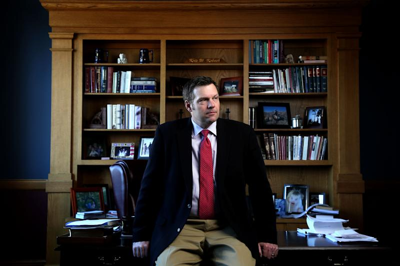 Kansas Secretary of State Kris Kobach discusses the Kansas proof of citizenship requirements for voter registration in his office in Topeka, Ks. Wednesday February 17, 2015. (Christopher Smith/ For the Washington Post via Getty Images)
