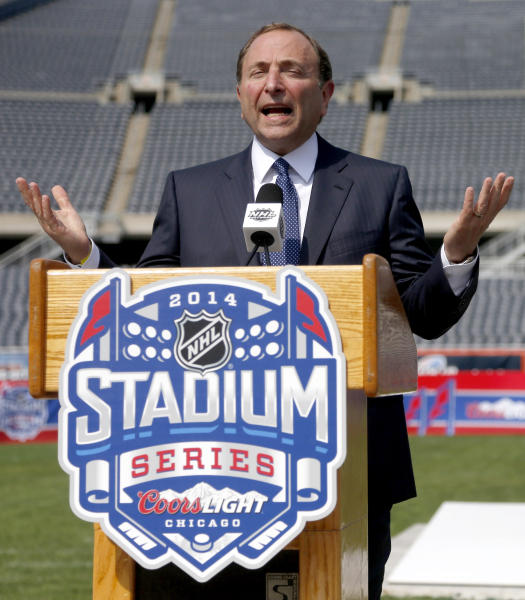 NHL Commissioner Gary Bettman talks about the Stadium Series hockey game between the Chicago Blackhawks and Pittsburgh Penguins to be held next March, during a news conference Thursday, Sept. 19, 2013, at Soldier Field in Chicago. (AP Photo/Charles Rex Arbogast)