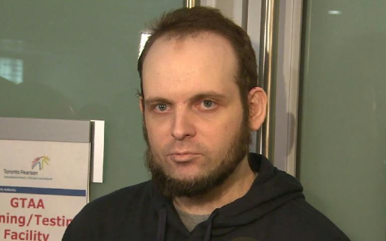 Freed hostage Joshua Boyle, seen in a video grab released by CBC News, made a statement to the media upon his arrival at Toronto airport