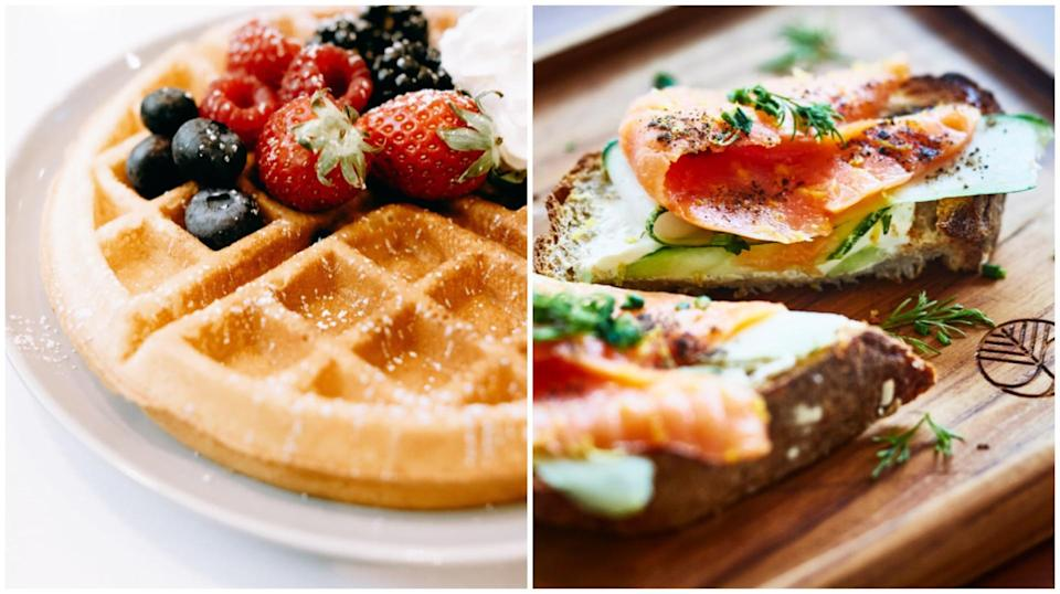 Donors will be able to choose from a wide range of delicious dishes such as Mixed Berries Waffle from Foreword Coffee Roasters (left) or Smoked Salmon + Cream Cheese Open-Face Toasts from The Social Space (right)