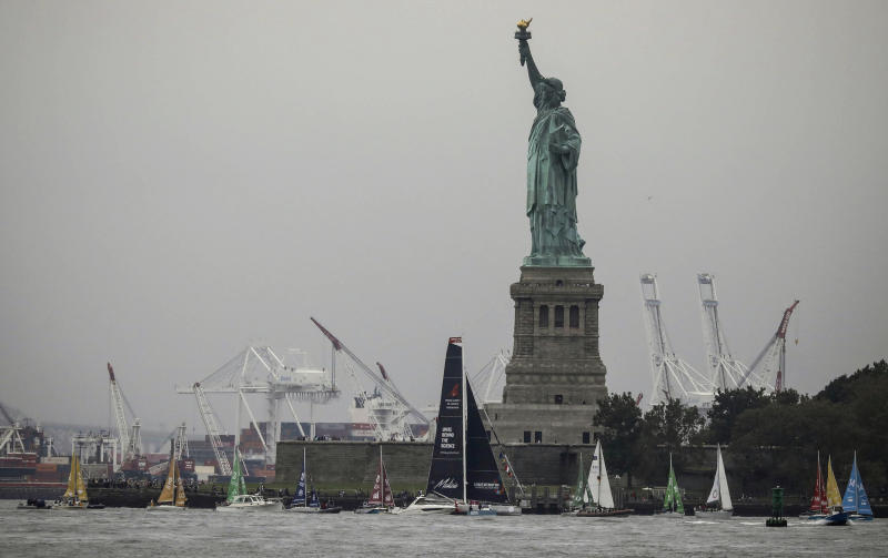 Greta Thunberg, a 16-year-old Swedish climate activist, sails into New York harbor aboard the Malizia II, Wednesday, Aug. 28, 2019. The zero-emissions yacht left Plymouth, England on Aug. 14. She is scheduled to address the United Nations Climate Action Summit on Sept. 23. (AP Photo/Bebeto Matthews)