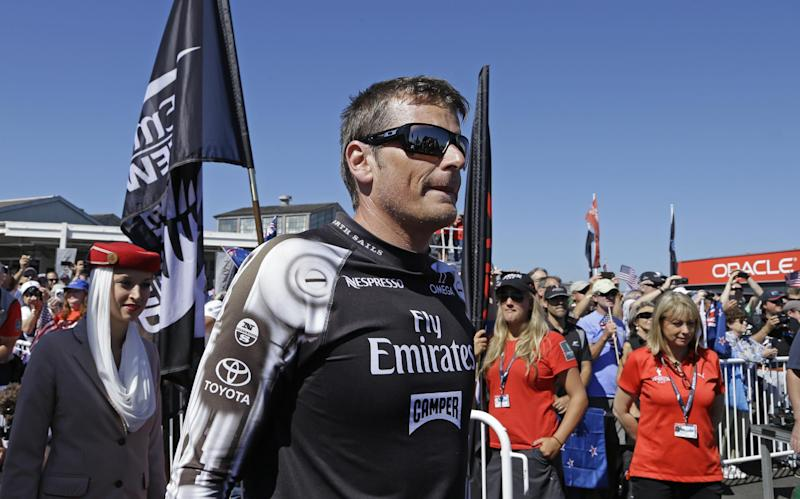 Emirates Team New Zealand skipper Dean Barker appears at a dock out show prior to the 12th race of the America's Cup sailing event against Oracle Team USA Thursday, Sept. 19, 2013, in San Francisco. (AP Photo/Ben Margot)
