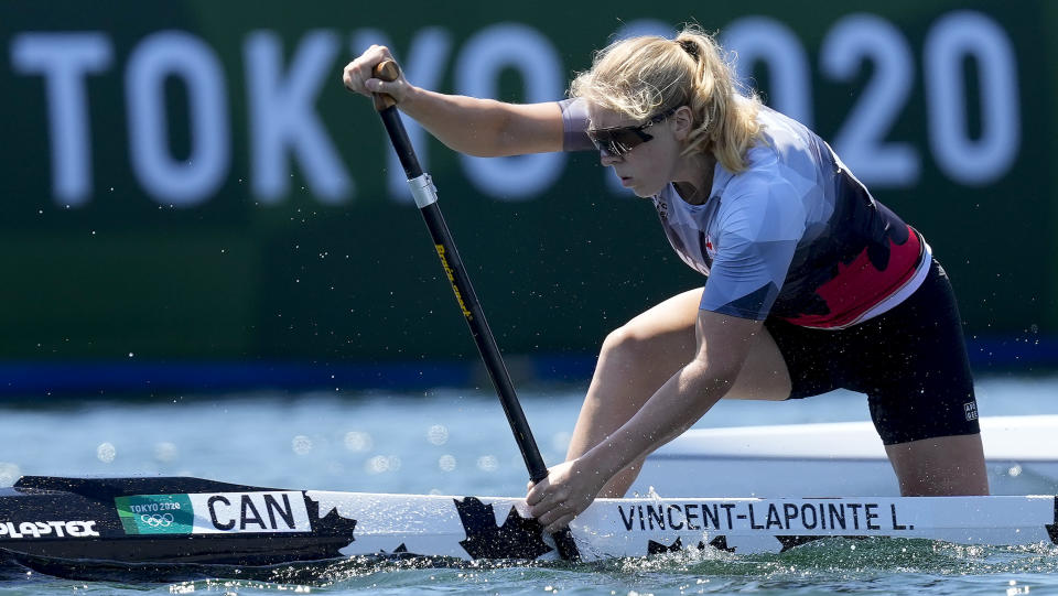 Laurence Vincent-Lapointe of Canada competes in the women's canoe single 200m heat at the 2020 Summer Olympics, Wednesday, Aug. 4, 2021, in Tokyo, Japan. (AP Photo/Darron Cummings)