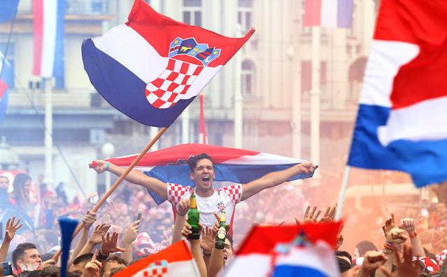<p>Soccer Football – World Cup – Final – France v Croatia – Zagreb, Croatia – July 15, 2018 – Croatia's fans are seen before the broadcast of the match at the city's main square. REUTERS/Antonio Bronic </p>