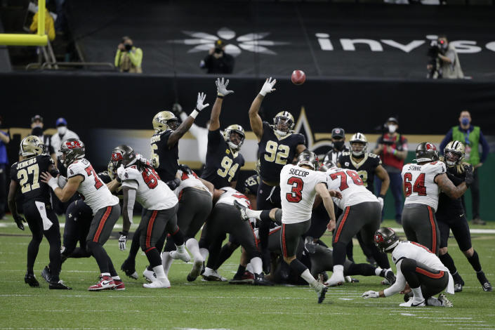 Tampa Bay Buccaneers kicker Ryan Succop (3) kicks a field goal against the New Orleans Saints during the first half of an NFL divisional round playoff football game, Sunday, Jan. 17, 2021, in New Orleans. (AP Photo/Butch Dill)