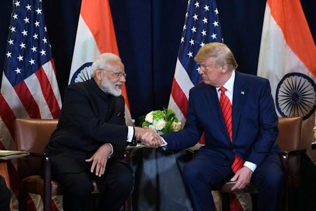 Trump's blossoming bromance with Prime Minister Narendra Modi will be on show again (AFP Photo/SAUL LOEB)