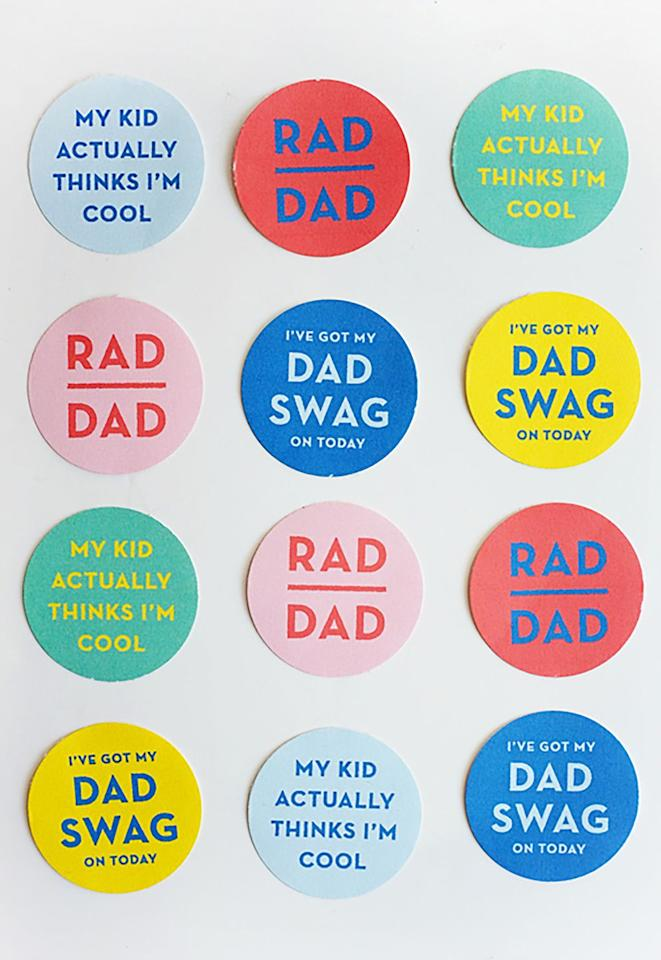 "<p>Thanks to an <a rel=""nofollow"" href=""http://d2c5oomqu2hs08.cloudfront.net/wp-content/uploads/2016/06/printable_dad_swag.pdf"">easy printable template</a>, you can make Dad wear these stickers to your <a rel=""nofollow"" href=""https://www.womansday.com/food-recipes/food-drinks/g2428/fathers-day-brunch/"">Father's Day brunch</a> so that everyone can appreciate his serious ""Dad swag."" <br></p><p><strong>Get the tutorial at <a rel=""nofollow"" href=""http://ohhappyday.com/2016/06/printable-dad-swag-stickers/"">Oh Happy Day.</a> </strong></p><p><strong>What you'll need: </strong>1.5-inch circle paper punch ($11, <a rel=""nofollow"" href=""https://www.amazon.com/CADY-Crafts-1-5-Inch-Punches-circle/dp/B072Q5RD6W/"">amazon.com</a>); Avery sticker project paper ($12, <a rel=""nofollow"" href=""https://www.avery.com/products/labels/3383"">avery.com</a>) </p>"