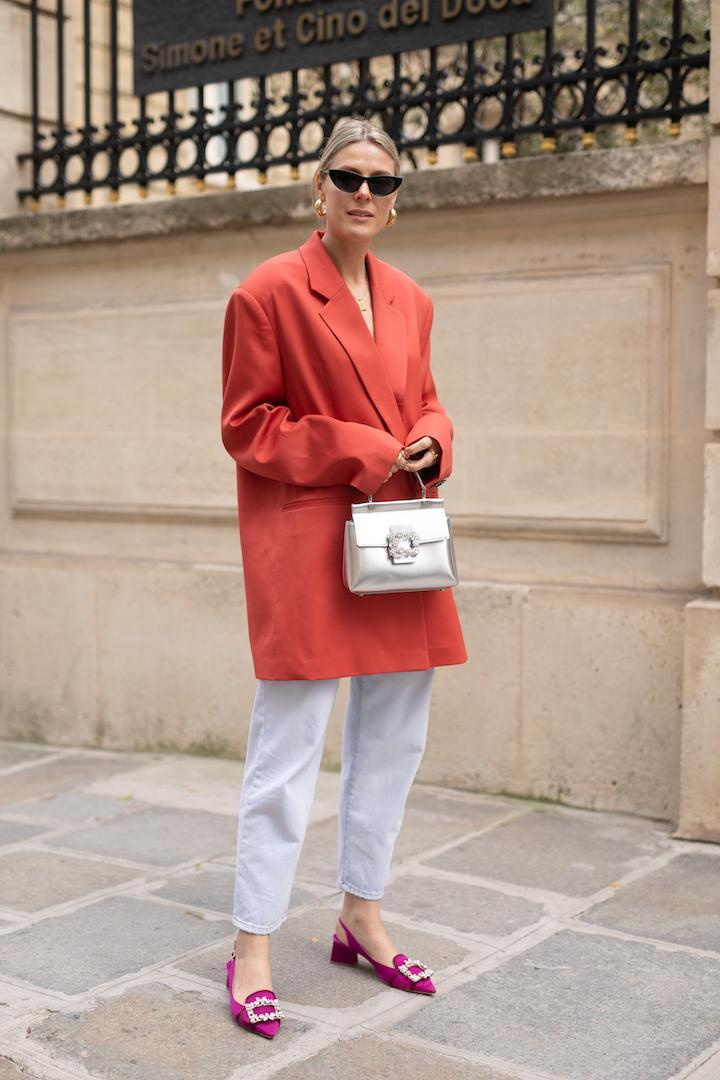 <p>Sofie Valkiers demonstrates how to work the pink and red colour combo courtesy of a supersized blazer and ladylike shoes. <em>[Photo: Getty]</em> </p>
