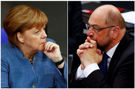 A combination of two photos show German Chancellor Angela Merkel and Social Democratic Party leader Martin Schulz as they attend a debate of the lower house of parliament Bundestag in Berlin