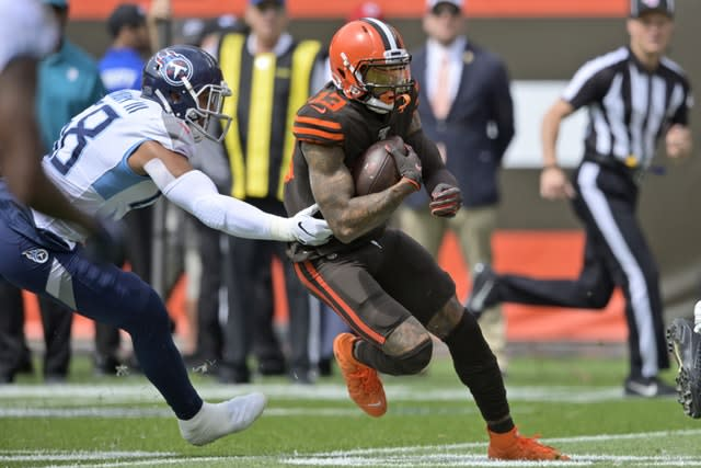 Cleveland Browns wide receiver Odell Beckham Jr rushes during the first half against the Tennessee Titans on the opening weekend of the NFL season (David Richard/AP)