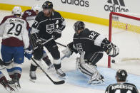 Colorado Avalanche right wing Mikko Rantanen (96) scores against Los Angeles Kings goaltender Jonathan Quick (32) during the first period of an NHL hockey game Thursday, Jan. 21, 2021, in Los Angeles. (AP Photo/Ashley Landis)