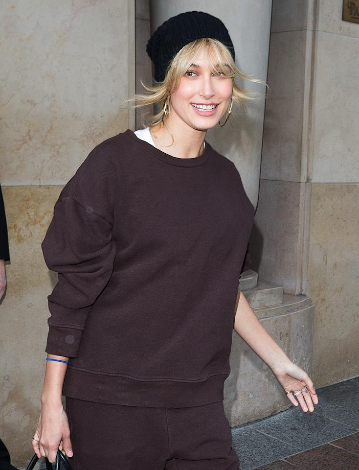 <p>Hailey Baldwin is all smiles during a shopping trip in Paris, France on Monday.</p>