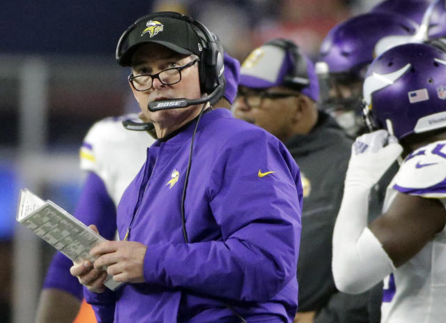 Minnesota Vikings head coach Mike Zimmer watches from the sideline during the first half of an NFL football game against the New England Patriots, Sunday, Dec. 2, 2018, in Foxborough, Mass. (AP Photo/Steven Senne)