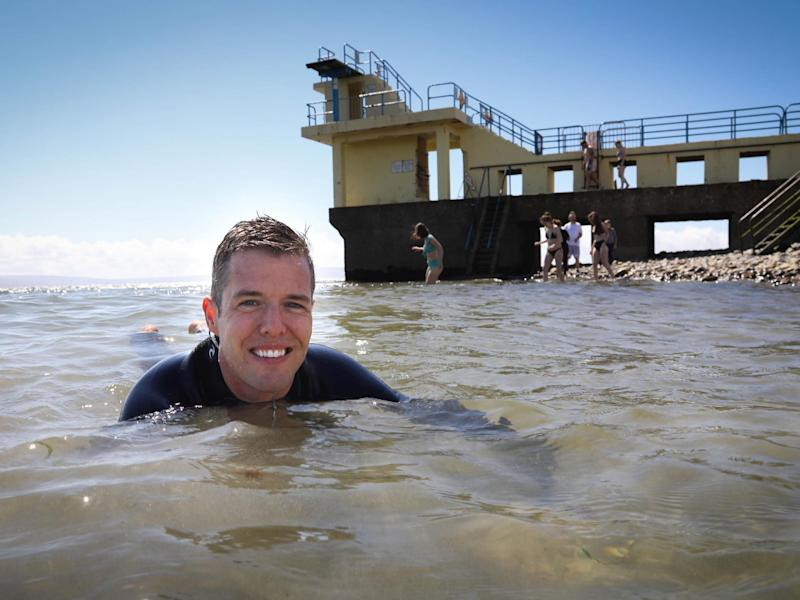 Dr Liam Burke, one of a team of researchers at NUI Galway who are studying whether recreational waters contain potentially deadly bacteria, is pictured at Blackrock, Salhill in Galway: Aengus McMahon/PA Wire