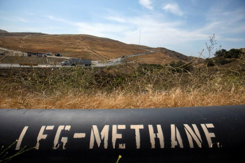 A pipeline that moves methane gas from the Frank R. Bowerman landfill to an onsite power plant is shown in Irvine, California