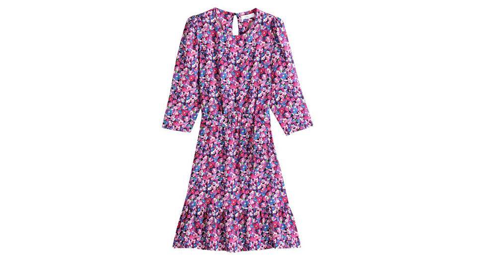 Floral Print Mini Dress with 3/4 Length Sleeves