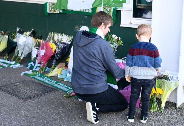 Tributes were left for the Yeovil Town captain outside the club's Huish Park stadium (Simon Galloway/PA).