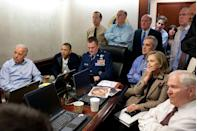 <p>2011. President Obama and his national security team in the White House Situation Room, during the raid which led to the killing of Osama bin Laden.</p>