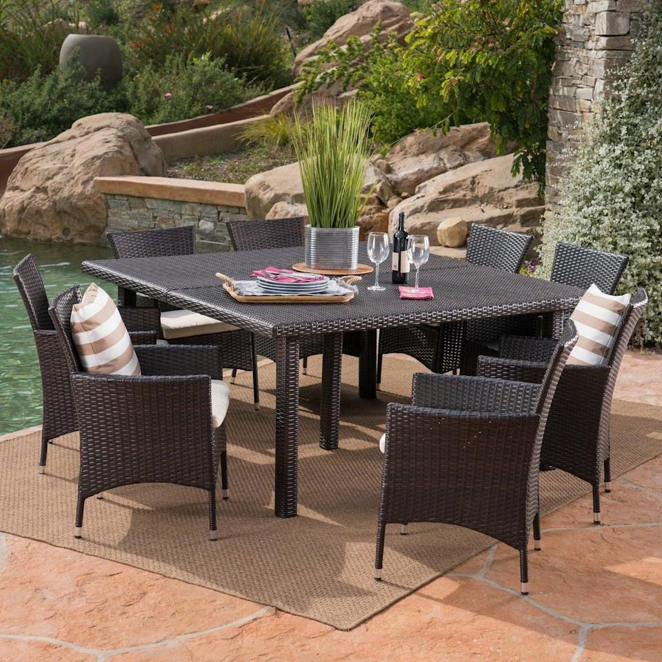 <p>The <span>Aristo Wicker Dining Set</span> ($1,000) is large enough to seat eight people. </p>