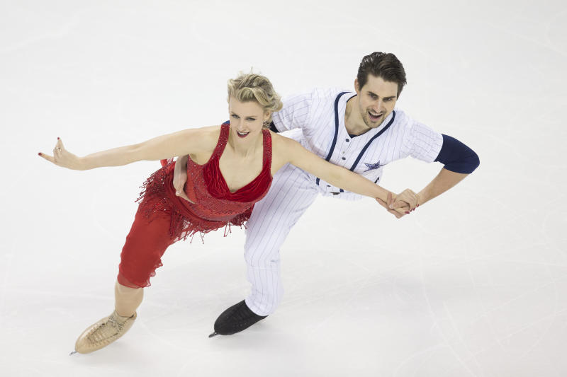 Madison Hubbell and Zachary Donohue compete in the senior rhythm dance short program at the U.S. Figure Skating Championships, Friday, Jan. 24, 2020, in Greensboro, N.C. (AP Photo/Lynn Hey)