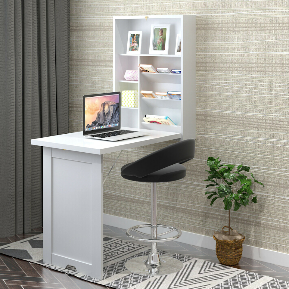 "<h3>Gymax Convertible Fold-Out Desk<br></h3> <br>What better way to save space than with a desk that can actually be folded up and put away? This wall-mounted design also has multiple storage compartments so you can keep your space clear and clutter-free. Add an extra chair and you've got a quaint table situation for dinner dates!<br><br><strong>Gymax</strong> Wall Mounted Fold-Out Convertible Floating Desk, $, available at <a href=""https://go.skimresources.com/?id=30283X879131&url=https%3A%2F%2Fwww.walmart.com%2Fip%2FGymax-Wall-Mounted-Fold-Out-Convertible-Floating-Desk-Space-Saver-Writing-Table-White%2F135100823"" rel=""nofollow noopener"" target=""_blank"" data-ylk=""slk:Walmart"" class=""link rapid-noclick-resp"">Walmart</a>"