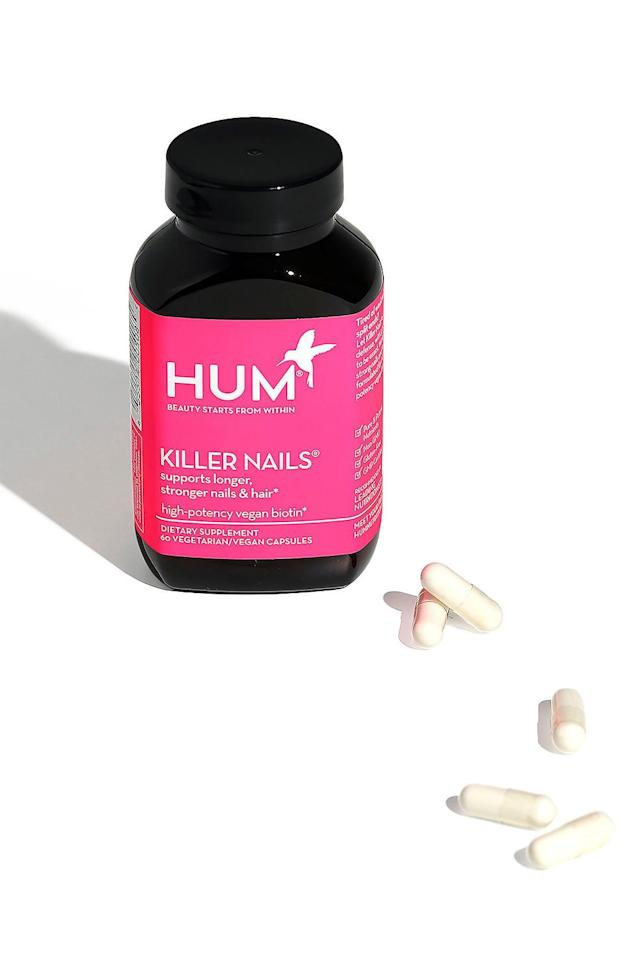 "<p>Talk about low effort and high reward. Give your nails a boost from the inside-out with a plant-based biotin supplement that comes fortified with high-potency ingredients necessary for nail growth.</p> <p><strong>BUY IT: $20; <a href=""https://click.linksynergy.com/deeplink?id=93xLBvPhAeE&mid=2417&murl=https%3A%2F%2Fwww.sephora.com%2Fproduct%2Fkiller-nails-supplements-P386761%3FskuId%3D1614775%2B&u1=SL%2CRX_1908_BestProductsforDamagedNails_HumNutritionKillerNailsSupplements%2Ckyarborough1271%2C%2CIMA%2C630710%2C201908%2CI"" target=""_blank"">sephora.com</a></strong></p>"