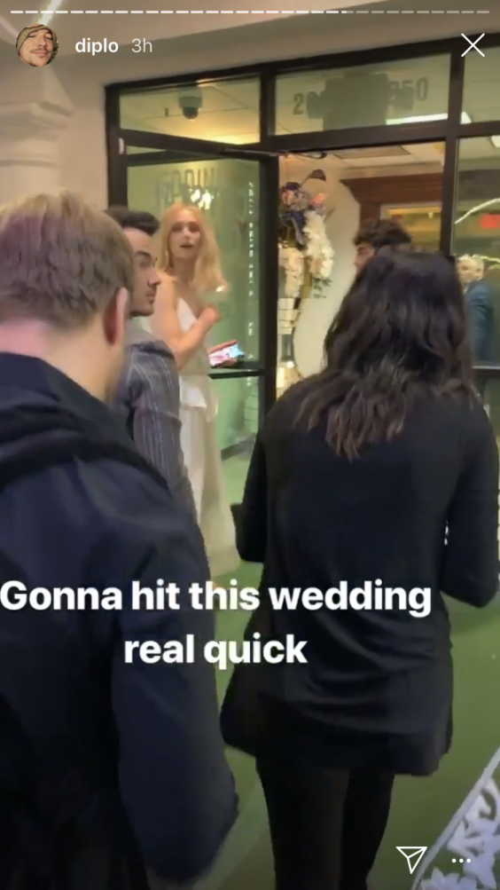 'Gonna hit this wedding real quick,' Diplo writes for the caption of a video on his Instagram story (Instagram/Diplo)