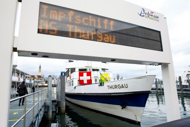 COVID-19 vaccination center onboard MS Thurgau in Romanshorn