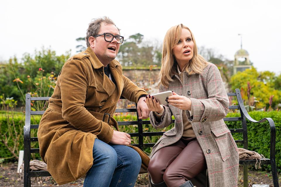 Alan Carr and Amanda Holden are on a DNA Journey. (ITV/Voltage TV and Mitre Television)
