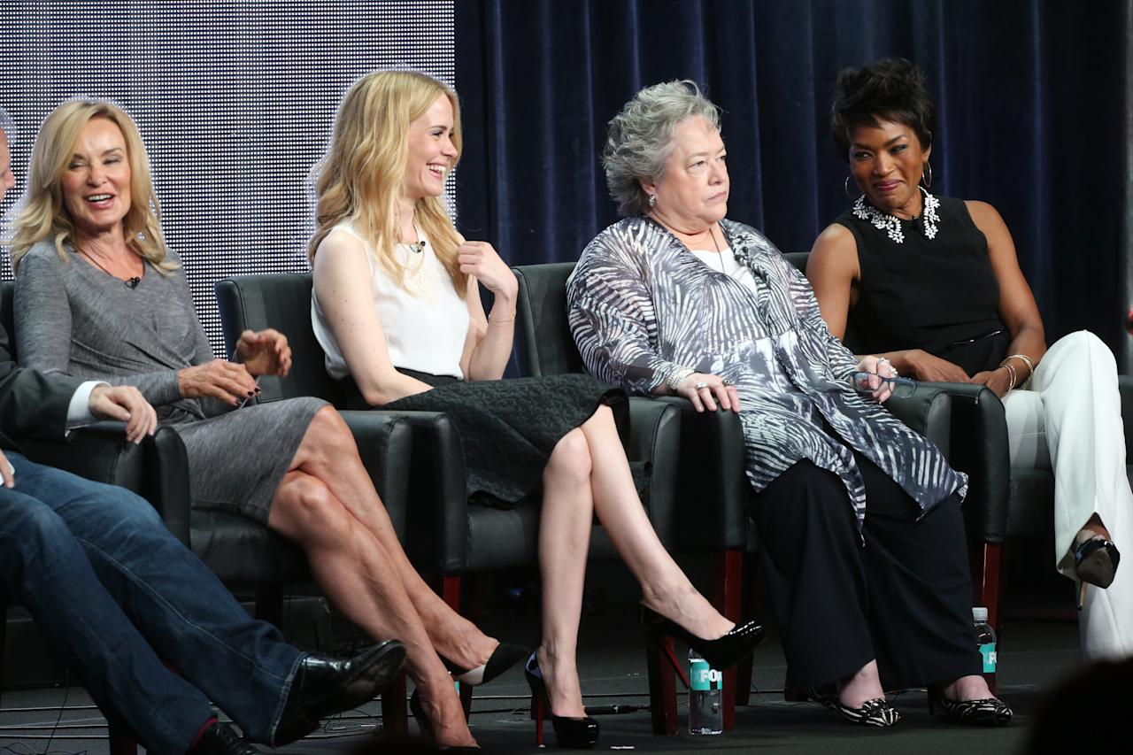 "BEVERLY HILLS, CA - AUGUST 02: (L-R) Actresses Jessica Lange, Sarah Paulson, Kathy Bates, and Angela Bassett speak onstage during the ""American Horror Story: Coven"" panel discussion at the FX portion of the 2013 Summer Television Critics Association tour - Day 10 at The Beverly Hilton Hotel on August 2, 2013 in Beverly Hills, California. (Photo by Frederick M. Brown/Getty Images)"