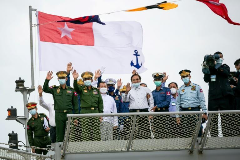 Junta leader Min Aung Hlaing appeared at a dock south of commercial capital Yangon to inaugurate the coastguard (AFP/STR)