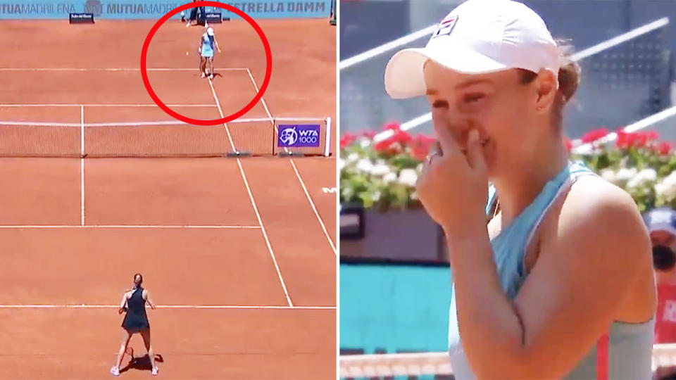 Ash Barty, pictured here after she lost the ball in the sun at the Madrid Open.