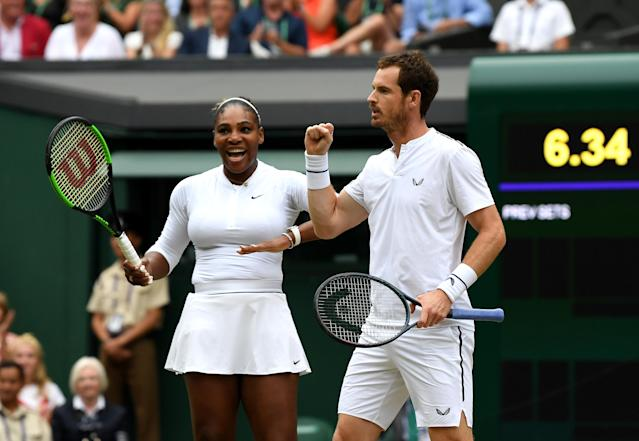 Serena Williams celebrates with Andy Murray in their Wimbledon Mixed Doubles second round match. (Photo by Mike Hewitt/Getty Images)
