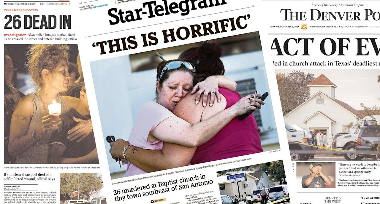 <p>A man dressed in black tactical-style gear and armed with an assault rifle opened fire inside a church in a small South Texas community on Sunday, killing 26 people and wounding about 20 others in what the governor called the deadliest mass shooting in the state's history. The dead ranged in age from 5 to 72 years old. (newseum.org) </p>