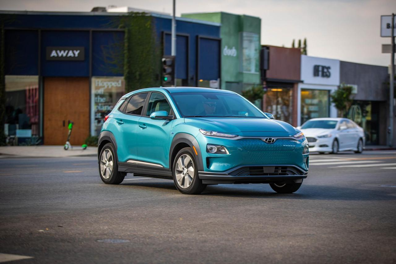 """<p>Its long driving range and spunky driving personality make the <a href=""""https://www.caranddriver.com/hyundai/kona-electric"""" target=""""_blank"""">2020 Kona Electric</a> one of the best electric vehicles on sale today. It shares its basic structure with the <a href=""""https://www.caranddriver.com/hyundai/kona"""" target=""""_blank"""">gasoline-powered Kona SUV</a>, but wears a unique front bumper, grille, and special wheels that all look cool and also help reduce aerodynamic drag. The Kona Electric goes head-to-head with other mass-market EVs such as the <a href=""""https://www.caranddriver.com/chevrolet/bolt-ev"""" target=""""_blank"""">Chevrolet Bolt EV</a>, entry-level models of the <a href=""""https://www.caranddriver.com/tesla/model-3"""" target=""""_blank"""">Tesla Model 3</a>, and the <a href=""""https://www.caranddriver.com/kia/niro"""" target=""""_blank"""">Kia Niro EV</a>, but we think it's the best value among its rivals. <a href=""""https://www.caranddriver.com/hyundai"""">Hyundai</a> claims a driving range of up to 258 miles per charge and the Kona Electric can recharge its battery fairly quickly on a 240-volt outlet or even quicker using a DC fast-charging station. </p><p><a class=""""body-btn-link"""" href=""""https://www.caranddriver.com/hyundai/kona-electric"""" target=""""_blank"""">Review, Pricing, and Specs</a></p>"""