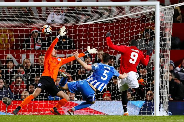 Soccer Football - FA Cup Quarter Final - Manchester United vs Brighton & Hove Albion - Old Trafford, Manchester, Britain - March 17, 2018 Manchester United's Romelu Lukaku scores their first goal Action Images via Reuters/Jason Cairnduff