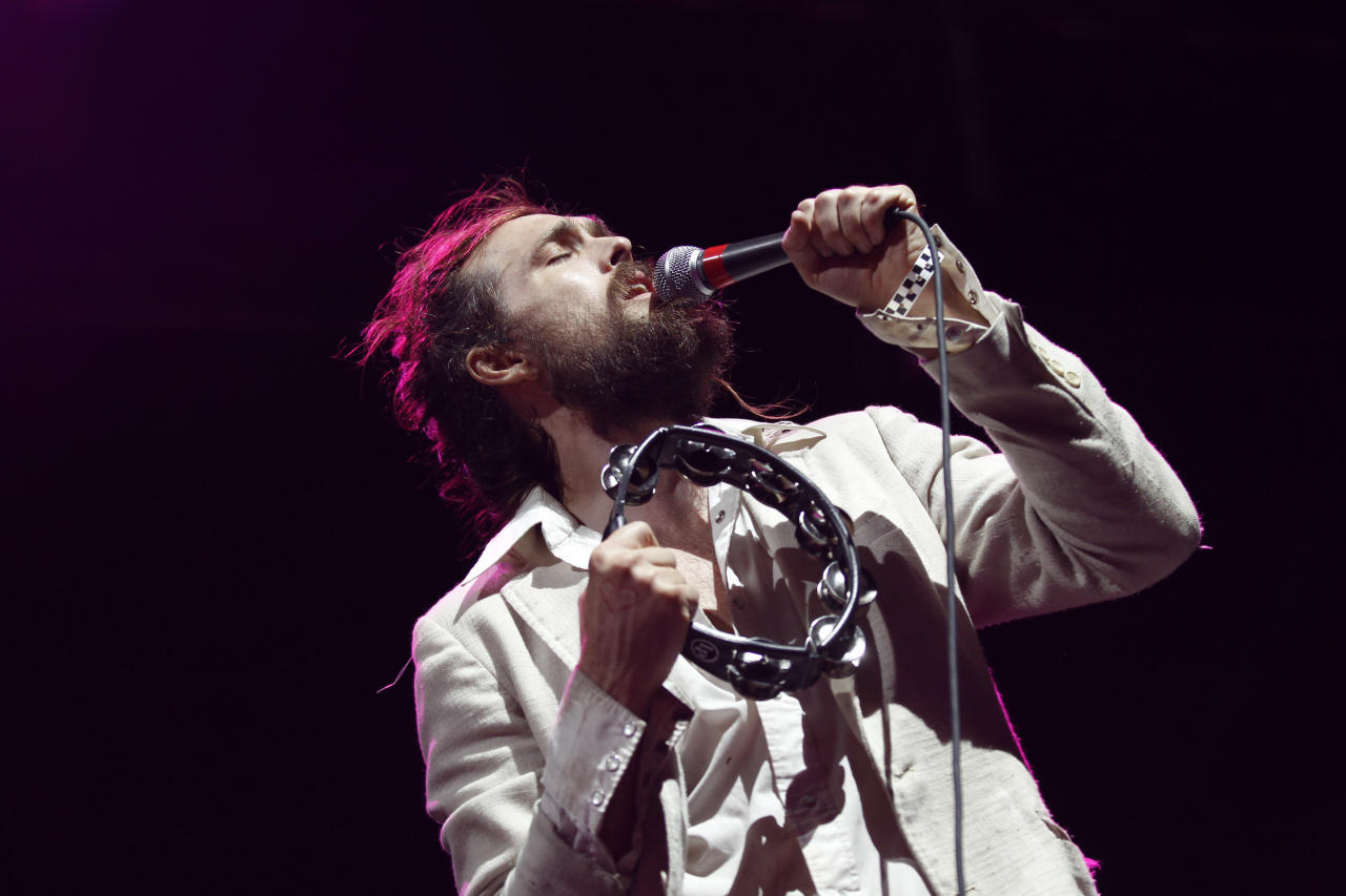 Alex Ebert, of Edward Sharpe & the Magnetic Zeros, performs at the Myspace Big Easy Express concert at SXSW in Austin, Texas, Saturday, March 17, 2012. (Jack Dempsey/AP Images for Myspace)