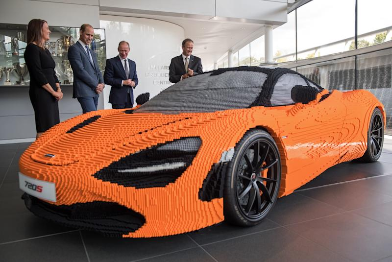 Prince William saw model of a McClaren 720S sports car made entirely out of Lego bricks.  (CHRIS J RATCLIFFE via Getty Images)
