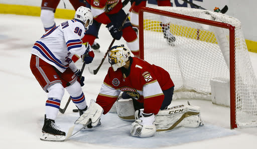 New York Rangers center Vladislav Namestnikov (90) scores against Florida Panthers goaltender Roberto Luongo (1) during the first period of an NHL hockey game Saturday, Dec. 8, 2018, in Sunrise, Fla. (AP Photo/Brynn Anderson)