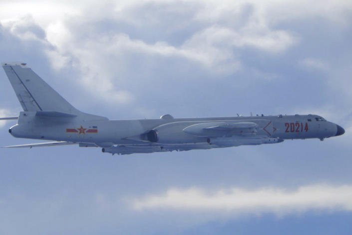Image: A Chinese People's Liberation Army H-6 bomber fitted with the YJ-12 anti-ship cruise missile flies near the Taiwan air defense identification zone near Taiwan on Sept. 18, 2020. (Taiwan Ministry of National Defense / via AP)