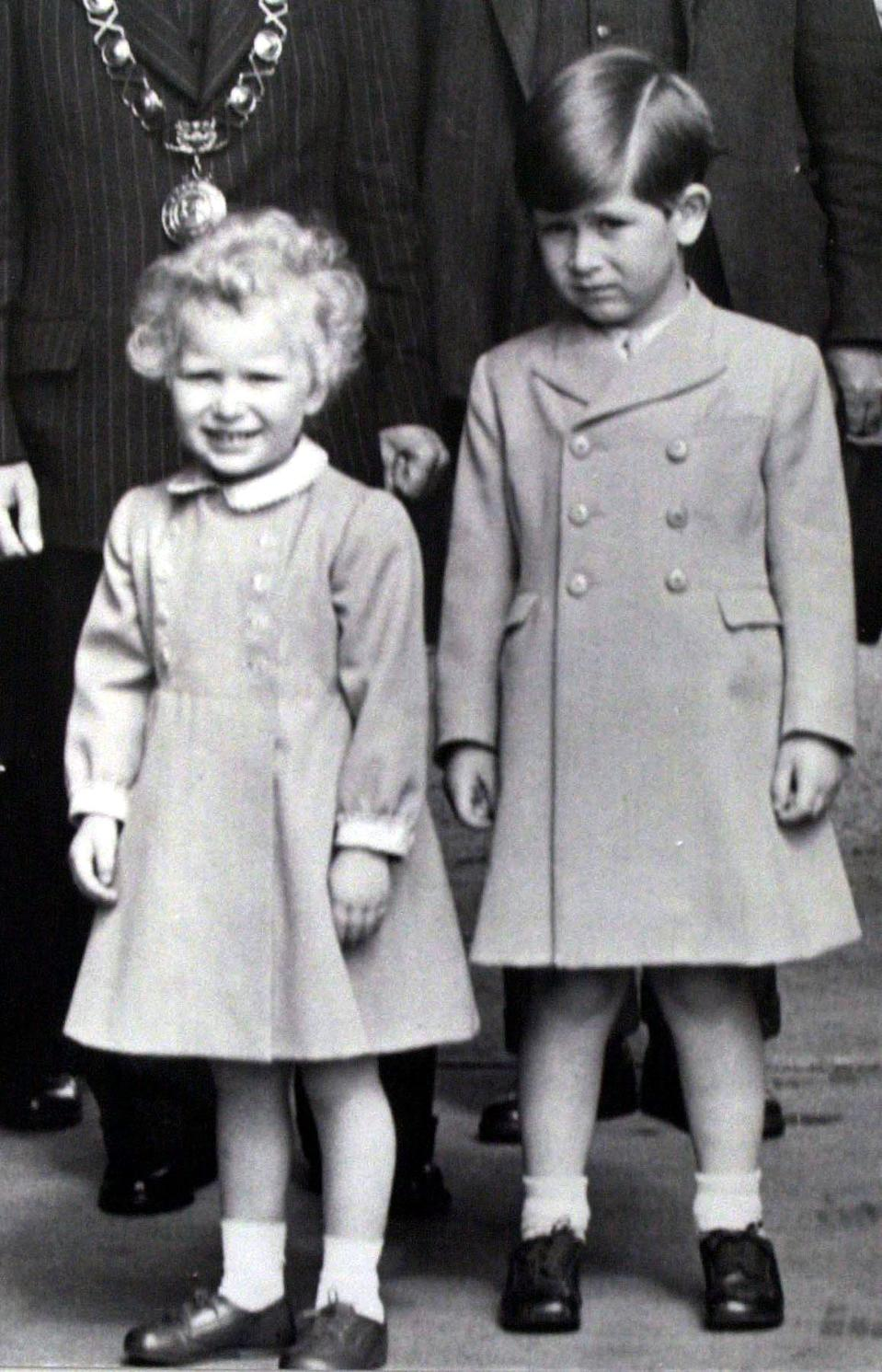 Prince Charles arriving at Ballater station age six in 1953 with Princess Anne. (PA photos)