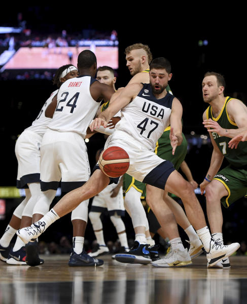 United States' Joe Harris, center, controls the ball during their exhibition basketball game against Australia in Melbourne, Thursday, Aug. 22, 2019. (AP Photo/Andy Brownbill)
